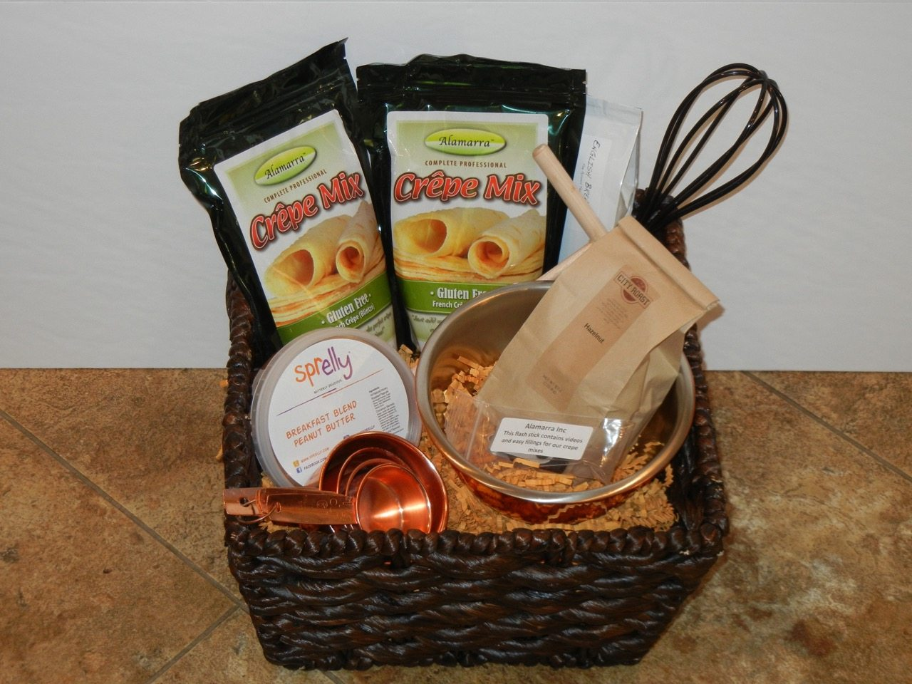 Alamarra crepe pancake waffle mix gluten free cleveland oh alamarra has two gift baskets just perfect for them the gluten free crepe mix basket is on the left and the flour based crepe mix basket is on the right negle Gallery
