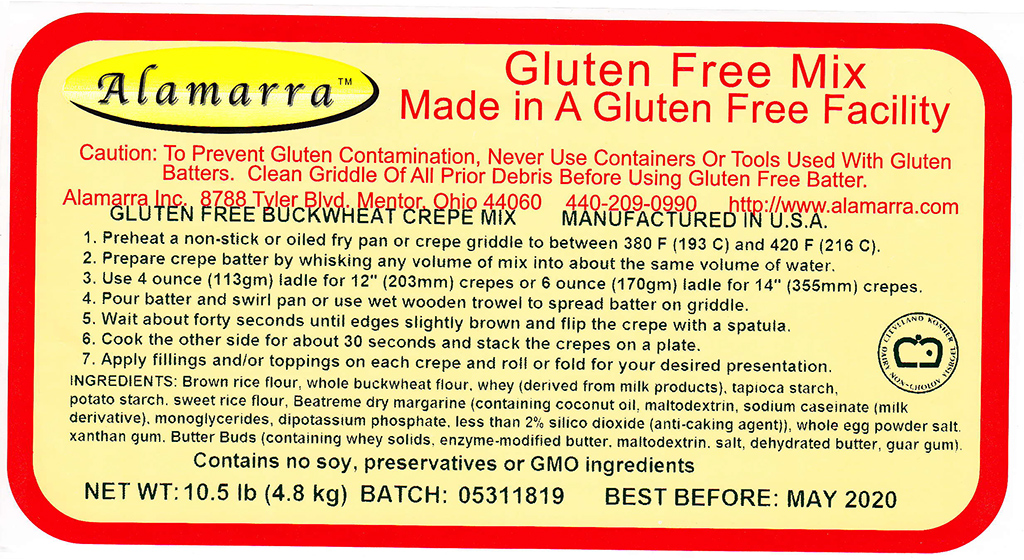 Gluten Free Buckwheat Crepe Mix Ingredient Label