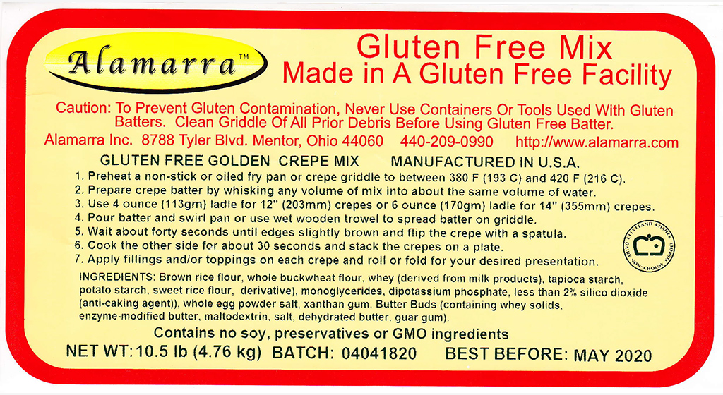 Gluten Free Golden Crepe Mix Ingredient Label