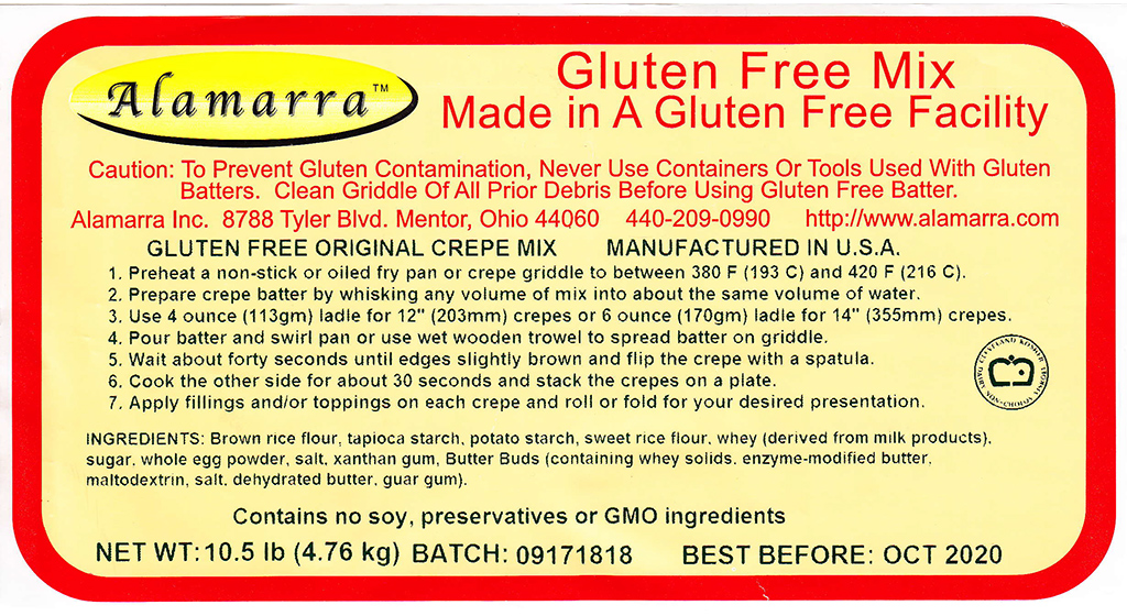 Gluten Free Original Crepe Mix Ingredient Label