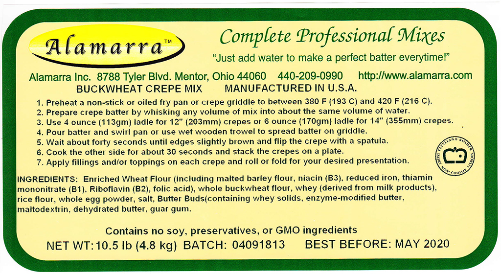Wheat Flour Based Buckwheat Crepe Mix Ingredient Label