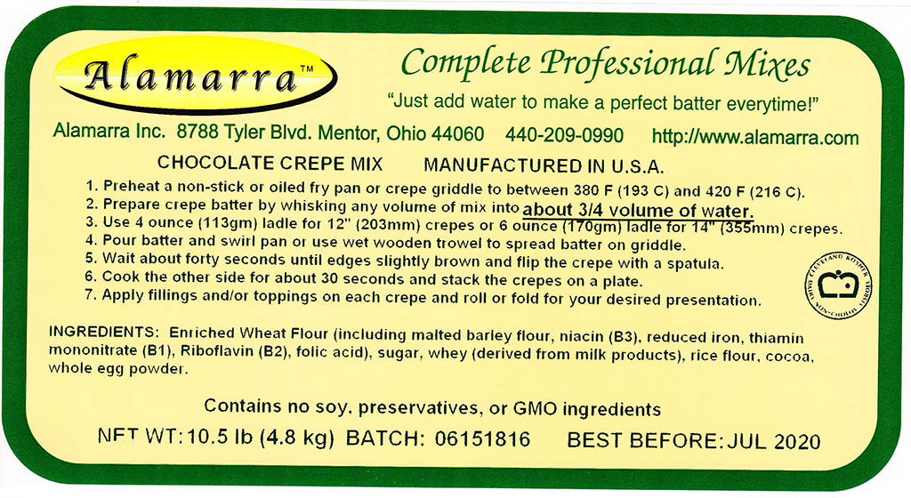 Wheat Flour Based Chocolate Crepe Mix Ingredient Label