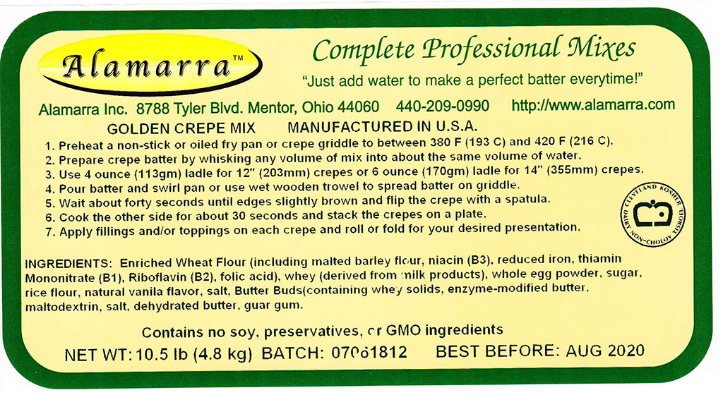 Wheat Flour Based Golden Crepe Mix Ingredient Label