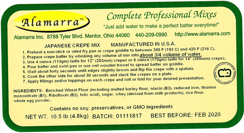 Wheat Flour Based Japanese Crepe Mix Ingredient Label