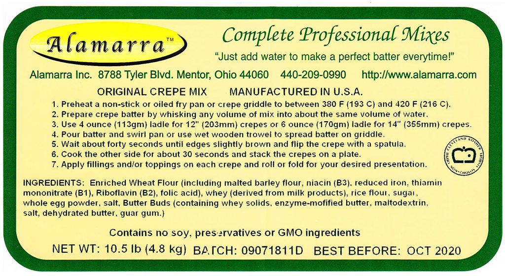 Wheat Flour Based Original Crepe Mix Ingredient Label